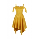 Chic Boutique Ladies' Sleeveless Bow Tie Asymmetric Hem Long Pleated Flared Cami Dress in Yellow