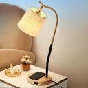 Fabric Tapered Desk Light Modernism 1 Bulb Beige/Red Brown Table Lamp with Metal Curved Arm