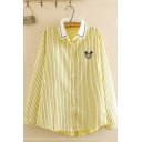 Trendy Women's Long Sleeve Lapel Collar Button Down Striped Bear Embroidery Contrasted Loose Fit Shirt