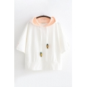 Cute Girls' Short Sleeve Hooded Carrot Embroidered Rabbit Print Loose T Shirt