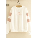 Trendy Ladies' Long Sleeve Crew Neck Letter ICECREAM Graphic Embroidery Striped Loose Fit Pullover Sweatshirt