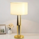 Straight Sided Shade Desk Light Modernism Fabric 1 Bulb Night Table Lamp in White