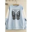 Popular Men's Long Sleeve Crew Neck Butterfly Cartoon Patterned Colorblock Oversize Sweatshirt