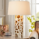 1 Head Tapered Drum Task Lighting Contemporary Fabric Small Desk Lamp in White