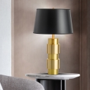 1 Bulb Flared Desk Light Modern Fabric Night Table Lamp in Black with Metal Base