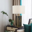Contemporary 1 Bulb Table Lamp White Cylinder Reading Book Light with Fabric Shade
