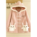 Cute Pink Long Sleeve Hooded Letter DEER Graphic Pocket Panel Sherpa Trim Relaxed Duffle Coat