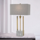 Modernism Rectangle Task Lamp Fabric 1 Bulb Reading Light in Grey with Marble Base