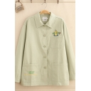 Pretty Trendy Ladies' Long Sleeve Lapel Neck Letter I'M FULL Cartoon Graphic Pocket Button Down Loose Jacket