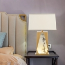 Contemporary 1 Head Desk Light Gold Trapezoid Night Table Lamp with Fabric Shade