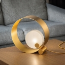 Modernism 1 Head Table Light Gold Round Small Desk Lamp with Frosted Glass Shade