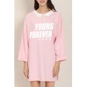 Leisure Cozy Long Sleeve Lapel Neck Letter YOUNG FOREVER Print Long Oversize T Shirt