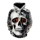 Creative Boys Gray Long Sleeve Skull 3D Printed Drawstring Loose Fit Kangaroo Pocket Hoodie