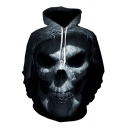 Hip Hop Boys Long Sleeve Drawstring Creepy Skull 3D Patterned Pouch Pocket Relaxed Hoodie in Black