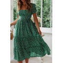 Amazing Girls Short Sleeve Square Neck Polka Dot Ruffle Trimmed Long Pleated A-Line Dress