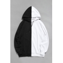 Cool Chic Mens Long Sleeve Drawstring Colorblocked Loose Fit Streetwear Hoodie