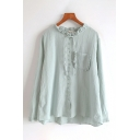 Leisure Trendy Ladies Plain Long Sleeve Round Neck Button Front Tied Stringy Selvedge Relaxed Shirt