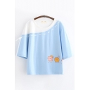 Cute Girls Short Sleeve Round Neck Cartoon Patterned Tied Colorblocked Relaxed Fit T Shirt