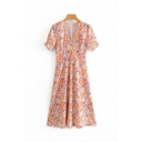 Fancy Girls Short Sleeve V-Neck All-Over Floral Patterned Maxi A-Line Dress in Orange