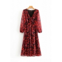 Formal Chic Blouson Sleeve Surplice Neck All Over Floral Printed Maxi Pleated A-Line Dress in Red