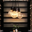 7-Light Edison Bulb LED Multi Light Pendant in Black Finish for Dining Room Kitchen Bar Counter