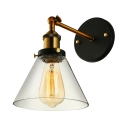 One Light Vintage Bronze Wall Sconce with Clear Glass Cone Shade