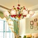 Yellow Bloom Chandelier Light Fixture Traditionalist Metal 5/8 Lights Dining Room Hanging Pendant