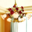 Yellow 5/8 Lights Hanging Chandelier Pastoral Metal Flared Pendant Light Fixture with Flower for Bedroom