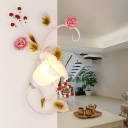Metal White Sconce Lamp Blossom 1 Head Pastoral Wall Light Fixture for Bedroom, Left/Right