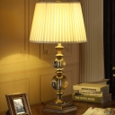 Spherical Nightstand Lamp Modernism Clear Crystal 1 Bulb Reading Book Light in Beige