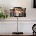 Cylinder Living Room Desk Lamp Smoke/Chrome Crystal LED Contemporary Reading Book Light