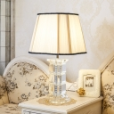 1 Head Tower Shape Task Light Contemporary Hand-Cut Crystal Reading Lamp in White