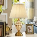 Vase Study Lamp Contemporary Hand-Cut Crystal 1 Bulb Reading Book Light in Beige