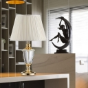 Contemporary 1 Bulb Task Lighting White Pleated Night Table Lamp with Fabric Shade