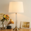 Fabric Barrel Table Light Contemporary 1 Bulb Gold Small Desk Lamp with Metal Base