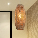 Rope Beige Suspension Light Fish-Basket 1 Head Countryside Pendant Lamp Fixture for Bar