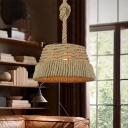 1 Head Rope Suspended Pendant Light Antiqued Beige Wire Cage Restaurant Hanging Lamp Kit
