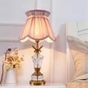 Scallop Nightstand Lamp Modern Fabric 1 Head Pink Task Lighting with Braided Trim