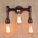 Pipe Metallic Wall Mount Lighting Rustic 3-Light Corridor Wall Sconce Lamp in Copper