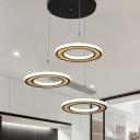 Circle Cluster Pendant Light Modern Metallic 3 Heads Black LED Hanging Lamp Fixture