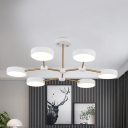 Black/White Drum Ceiling Chandelier Modern 6 Heads Metal LED Hanging Light Fixture with Branch Design