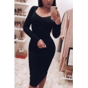 Edgy Looks Simple Long Sleeve V-Neck Solid Color Maxi Sheath T-Shirt Dress for Women