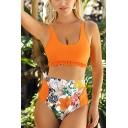 Fancy Ladies Sleeveless Stringy Selvedge Flower Patterned Cropped Tank Swimwear