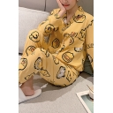 Fancy Girls Long Sleeve Lapel Collar Button Down All Over Duck Printed Top Long Pants Pajama Set