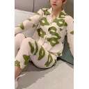 Pretty Girls Long Sleeve Lapel Collar Button Down All Over Floral Printed Long Pants Pajama Set