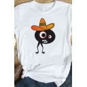 Funny Summer Short Sleeve Crew Neck Cartoon Pattern Loose Graphic T-Shirt in White