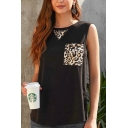 Casual Womens Sleeveless Round Neck Leopard Printed Pocket Panel Relaxed Tank Top