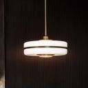 Contemporary Drum Hanging Light Fixture White Glass 1 Light Bedroom Pendant Lighting