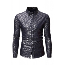 Stylish Guys Long Sleeve Lapel Collar Button Down All Over Paisley Print Bronzing Fit Shirt