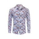Popular Mens Long Sleeve Lapel Collar Button Down All Over Floral Printed Slim Fit Shirt in Light Blue